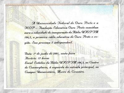 Convite. Inauguração da Programação da Rádio UFOP